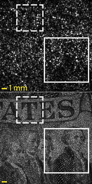 Details from a $2 bill taken from a distance of 1 meter by the SAVI prototype developed at Rice and Northwestern universities. The top image shows a speckle pattern created by firing a laser at the bill. The bottom shows the processed result after many such patterns were combined with a synthetic aperture program. Credit: Jason Holloway/Rice University