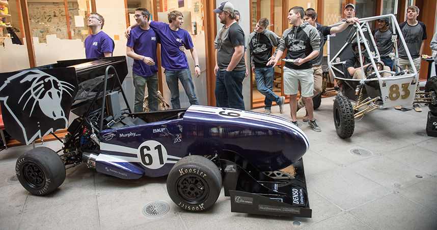 Teams unveil their cars on April 26 in the Ford Motor Company Engineering Design Center's atrium.