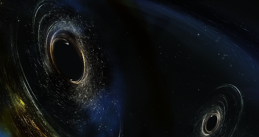 Artist's conception shows two merging black holes similar to those detected by LIGO. Credit: Aurore Simonnet