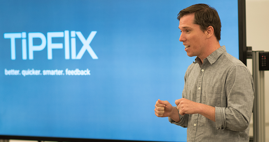 MFA student Stephen Nelson presented TiPFliX, one of the arts-based business plans presented at NUvention: Arts.