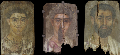 Three mummy portraits, second century CE, encaustic on wood. Phoebe A. Hearst Museum of Anthropology; 6-2378b; 6-21377; 6-21379. Courtesy of the Phoebe A. Hearst Museum of Anthropology and the Regents of the University of California.