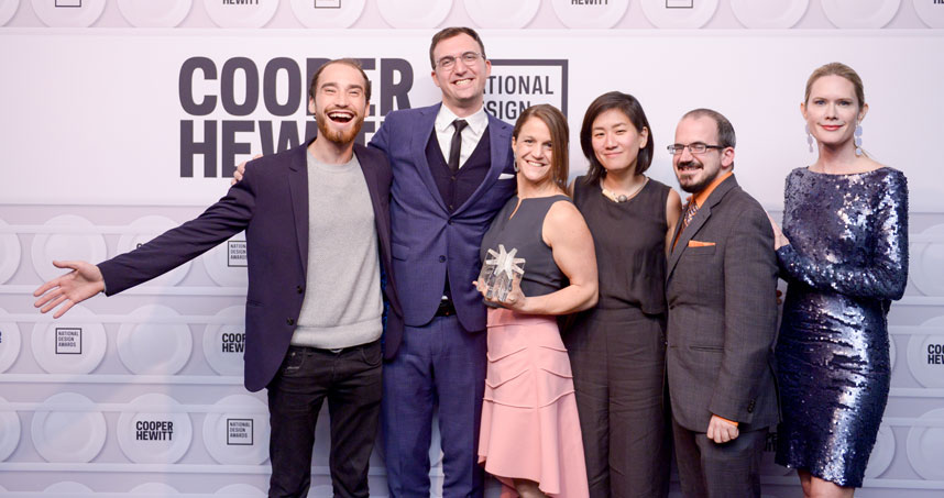 DFA at the National Design Awards in 2018. From left: Aaron Horowitz, Mert Iseri, Liz Gerber, Hannah Chung, Rob Calvey, and award presenter Stephanie March. Credit: BFA