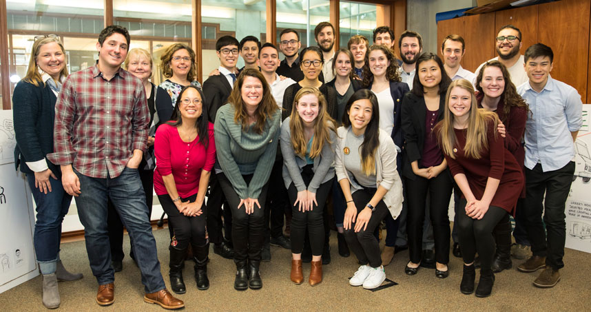 Students in the winter 2018 Service Design class pose after presentations with Feeding America representatives.
