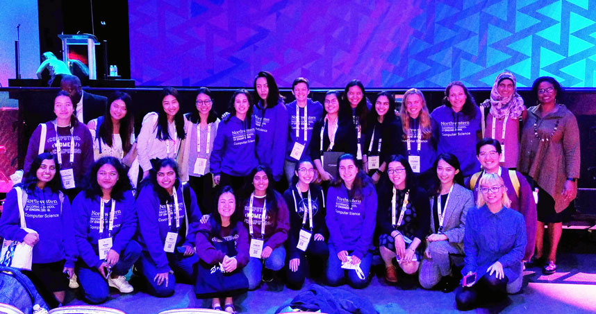 Members of Northwestern's Women in Computing group pose for a group photo at the Grace Hopper Celebration.