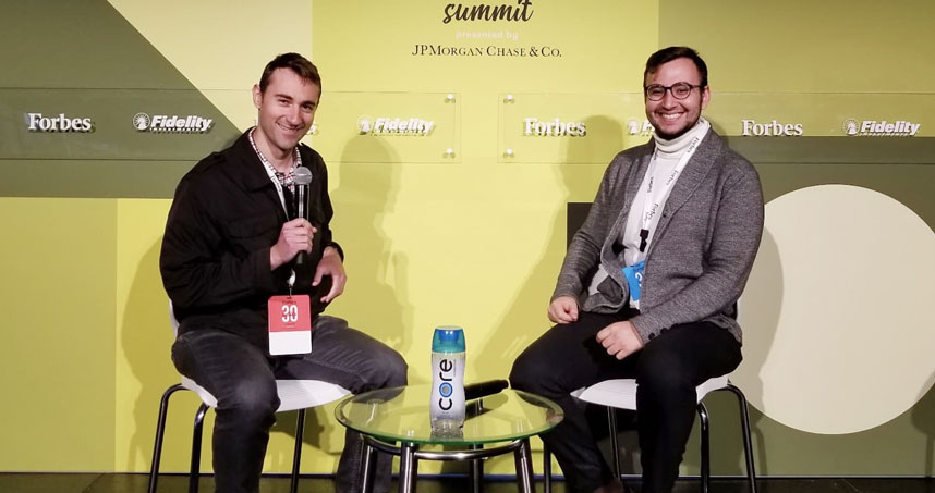 Christopher Datsikas (left) and Enes Umur Gokcek attend the Forbes Under 30 Summit in October.