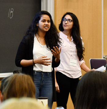 Dhansree Suraj (left) and Naomi Kaduwela present at the Hackathon.