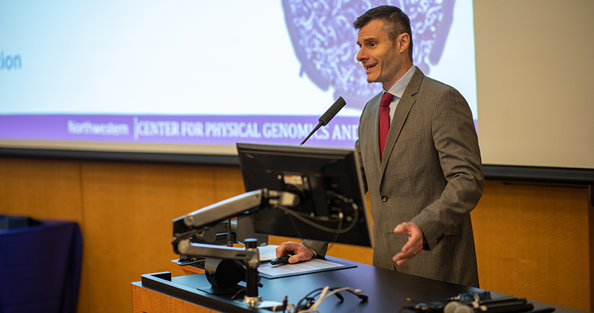 Vadim Backman, Center for Physical Genomics and Engineering director, kicked off the symposium. Credit: Rob Hart