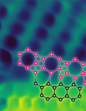 Atomic-resolution scanning tunneling microscopy image of a borophene-graphene lateral heterostructure with an overlaid schematic of interfacial boron-carbon bonding. Image width: 1.7 nm.