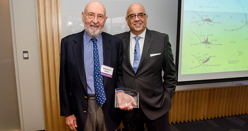 Professor Stephen Davis will retire in December and was honored for his 40 years of service at Northwestern.