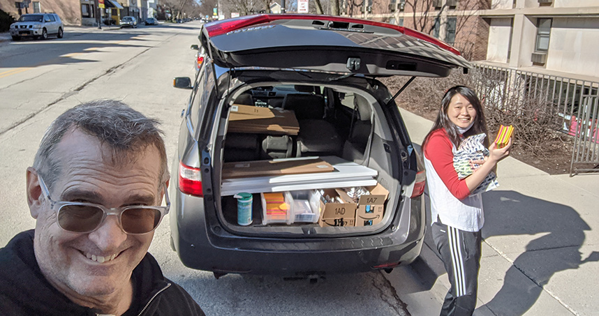 Jim Wicks used his family van to distribute course materials to local students.