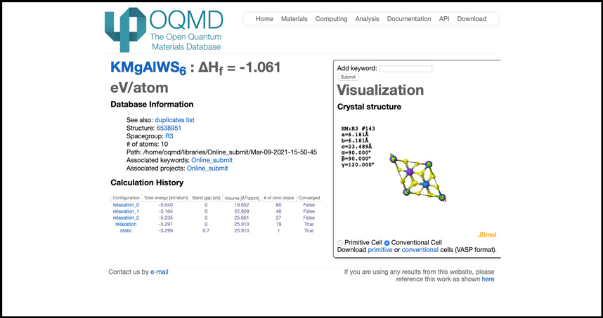 A screenshot of the database's one millionth compound.