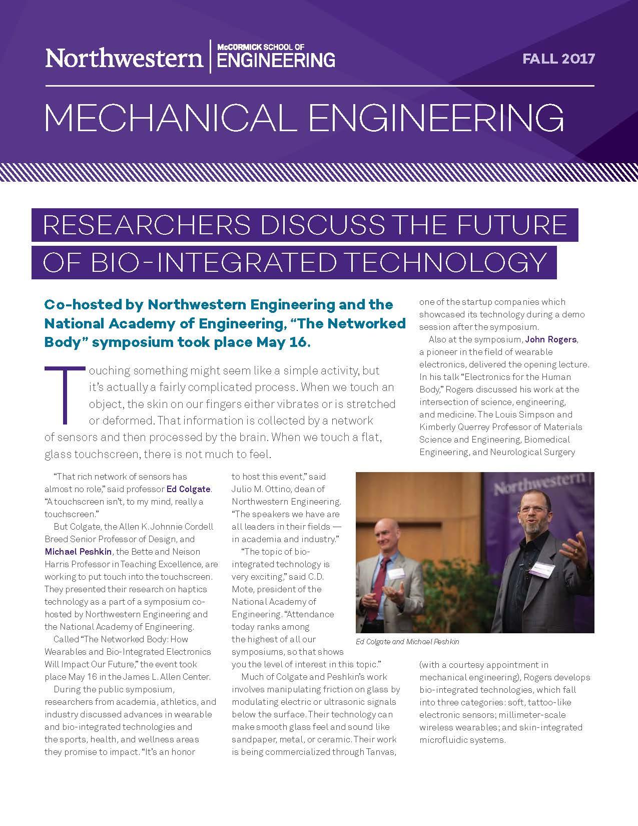 newsletter news mechanical engineering northwestern engineering
